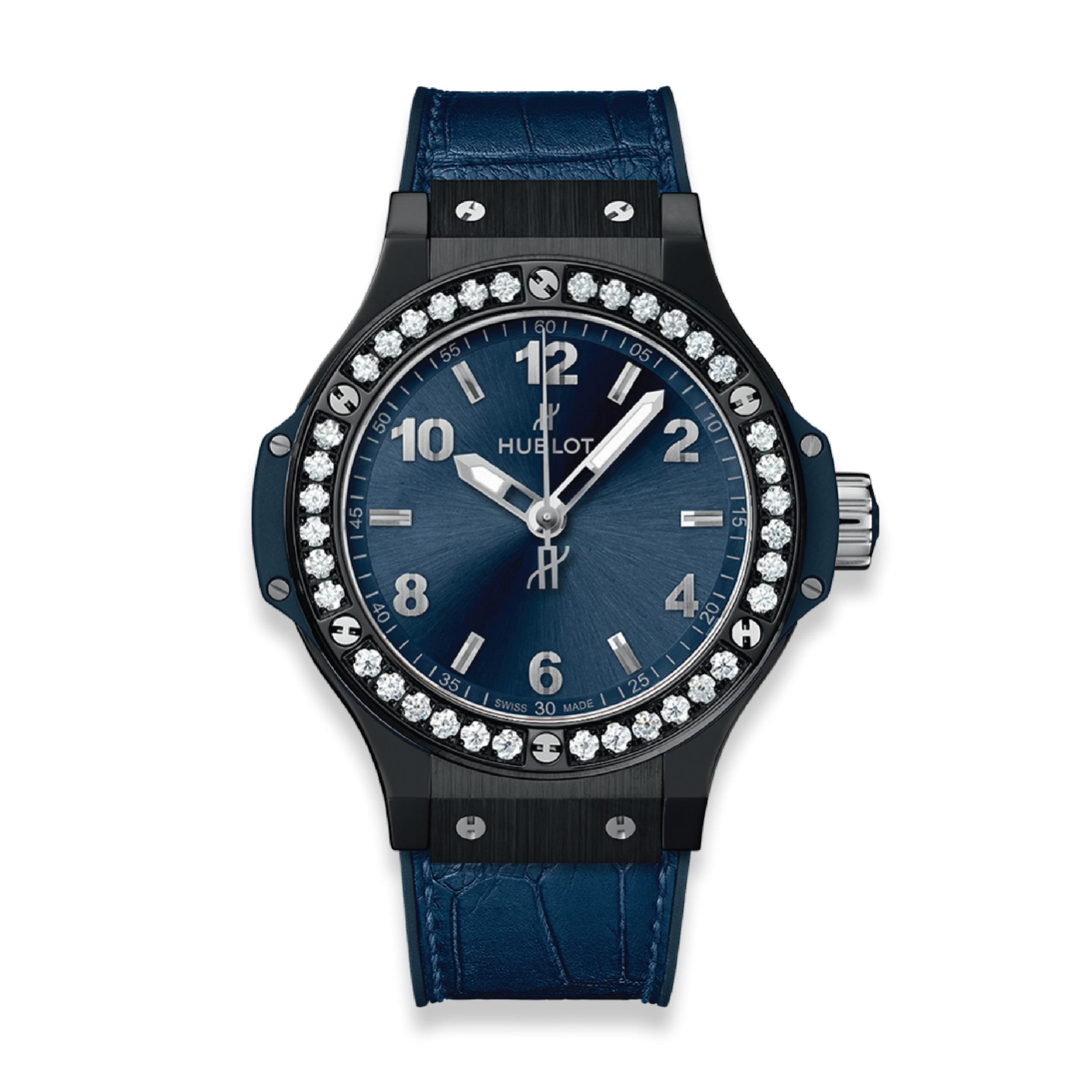 HUBLOT ЧАСЫ BIG BANG CERAMIC BLUE DIAMONDS 38 mm